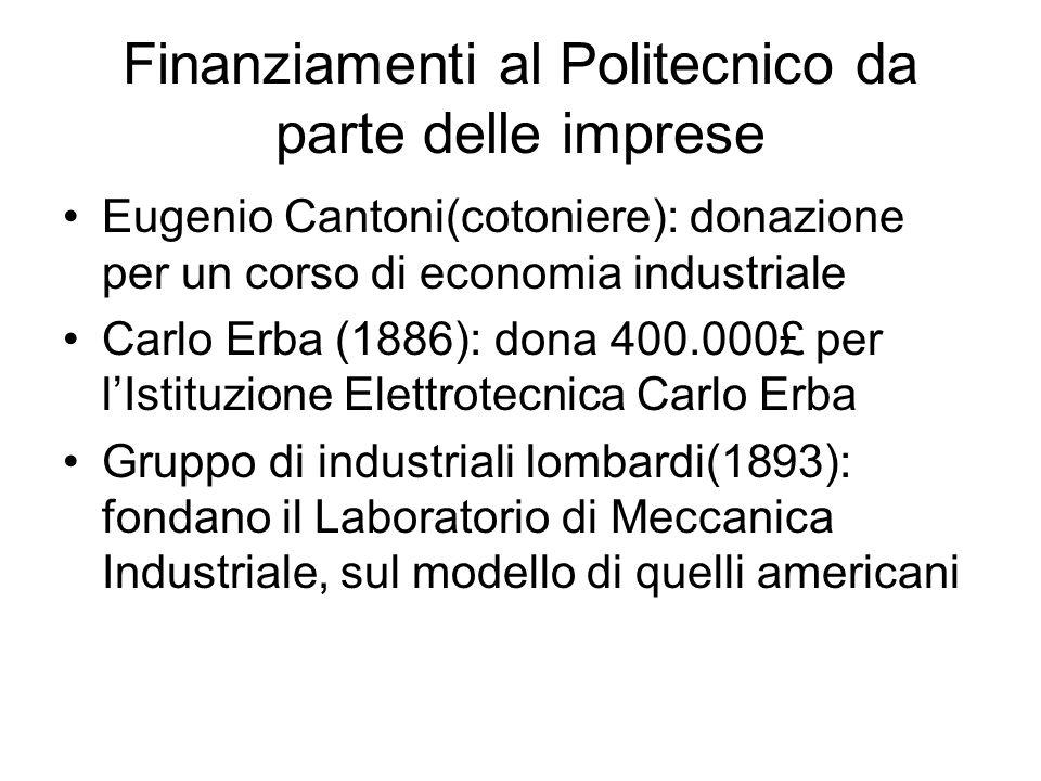 Finanziamenti al Politecnico da parte delle imprese Eugenio Cantoni(cotoniere): donazione per un corso di economia industriale Carlo Erba (1886): dona