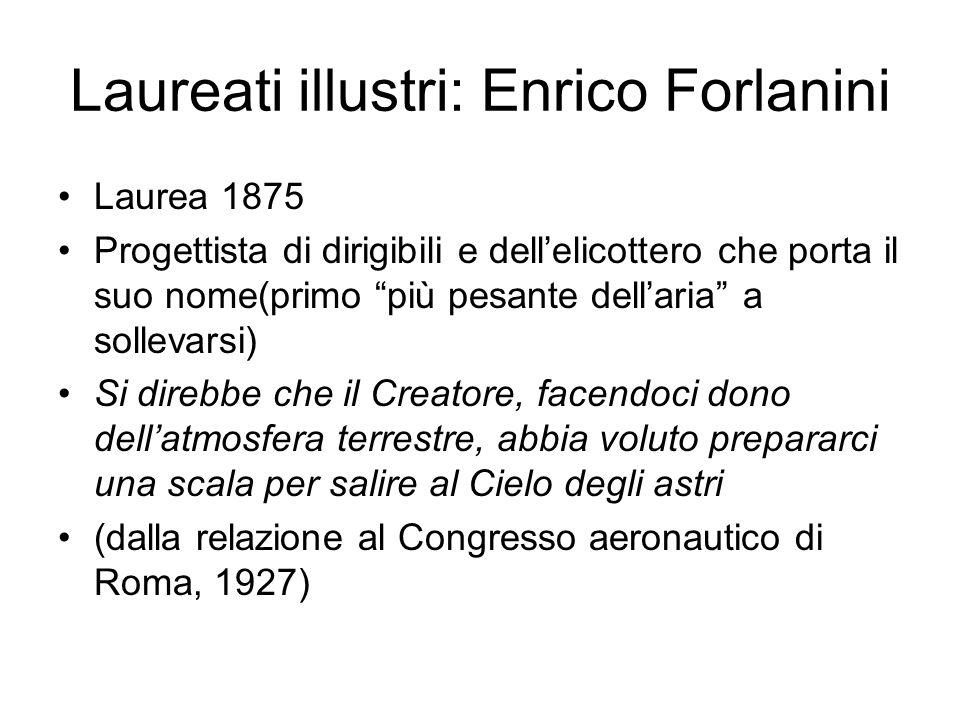 Laureati illustri: Enrico Forlanini Laurea 1875 Progettista di dirigibili e dellelicottero che porta il suo nome(primo più pesante dellaria a sollevar