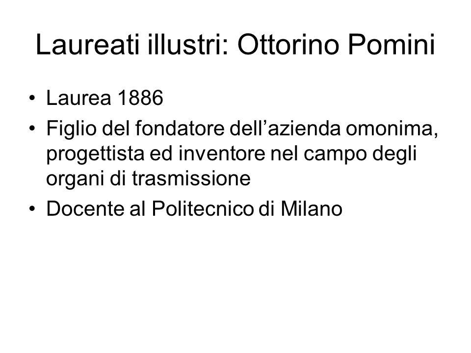 Laureati illustri: Ottorino Pomini Laurea 1886 Figlio del fondatore dellazienda omonima, progettista ed inventore nel campo degli organi di trasmissio