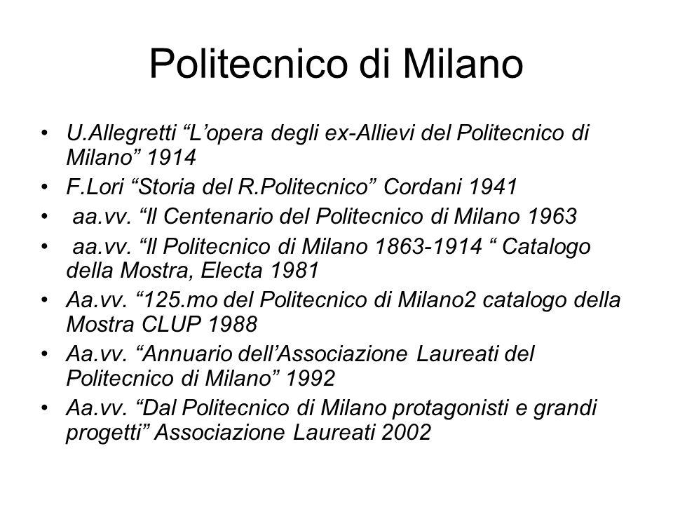 Politecnico di Milano U.Allegretti Lopera degli ex-Allievi del Politecnico di Milano 1914 F.Lori Storia del R.Politecnico Cordani 1941 aa.vv. Il Cente