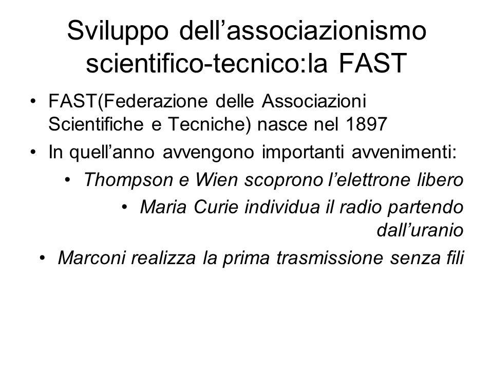 Sviluppo dellassociazionismo scientifico-tecnico:la FAST FAST(Federazione delle Associazioni Scientifiche e Tecniche) nasce nel 1897 In quellanno avve