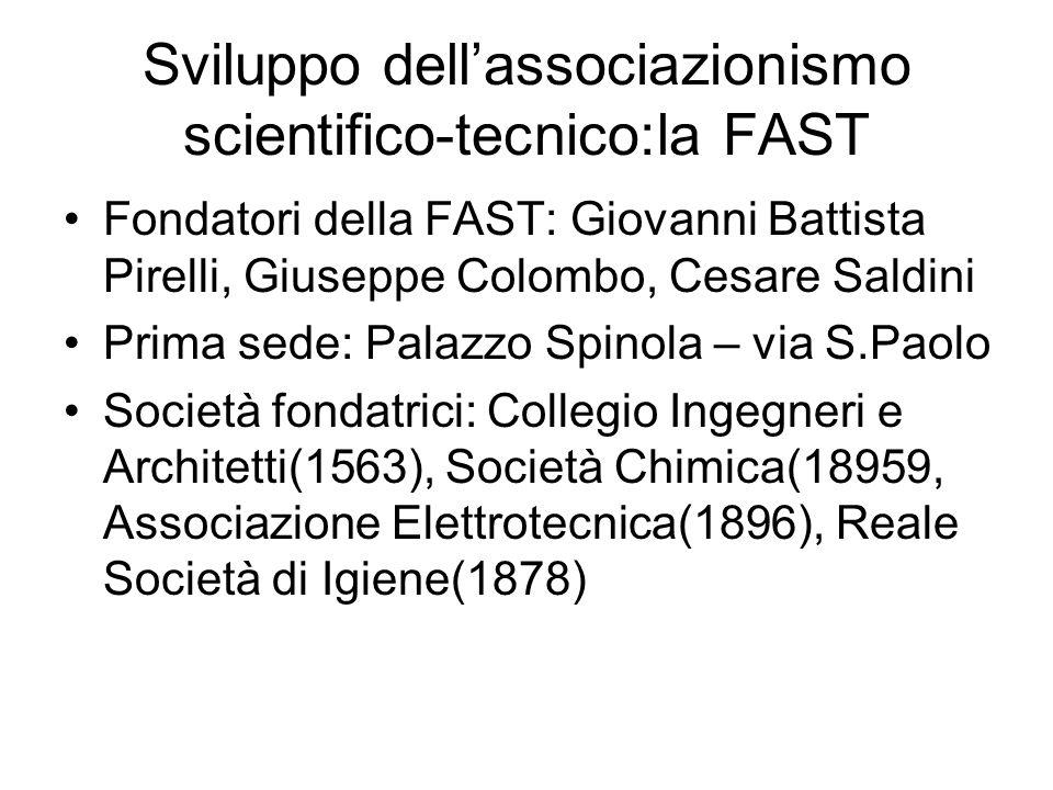 Sviluppo dellassociazionismo scientifico-tecnico:la FAST Fondatori della FAST: Giovanni Battista Pirelli, Giuseppe Colombo, Cesare Saldini Prima sede:
