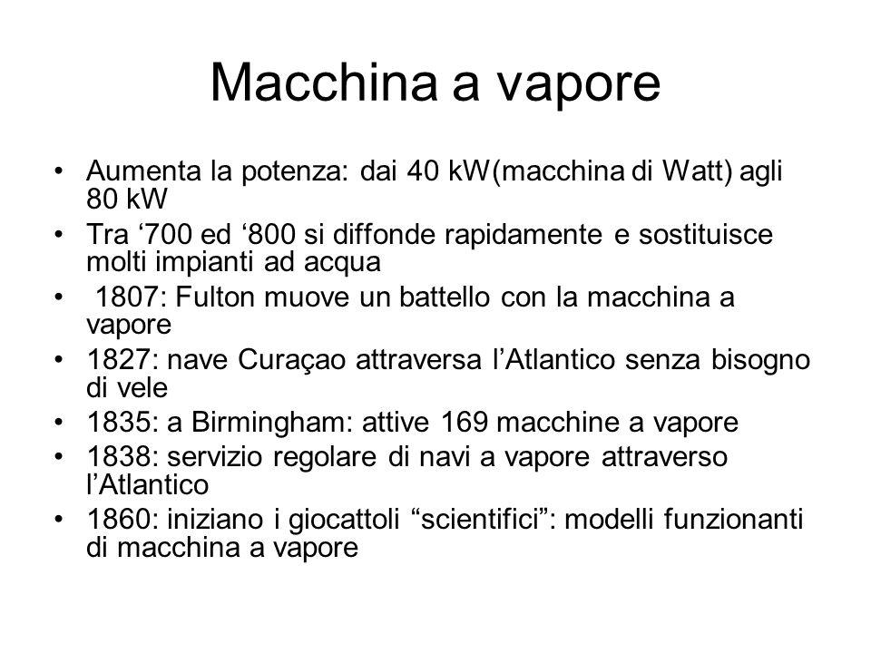 Macchina a vapore Aumenta la potenza: dai 40 kW(macchina di Watt) agli 80 kW Tra 700 ed 800 si diffonde rapidamente e sostituisce molti impianti ad ac