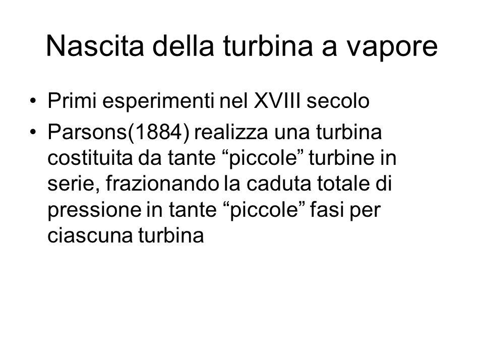 Nascita della turbina a vapore Primi esperimenti nel XVIII secolo Parsons(1884) realizza una turbina costituita da tante piccole turbine in serie, fra