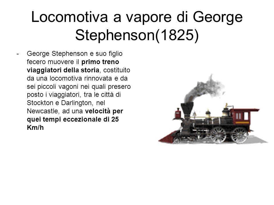 Locomotiva a vapore di George Stephenson(1825) nel focolare (1) brucia carbone calore per riscaldamento acqua nei tubi a fumo (4) scorrono i fumi provenienti dal focolare trasformazione acqua-vap.