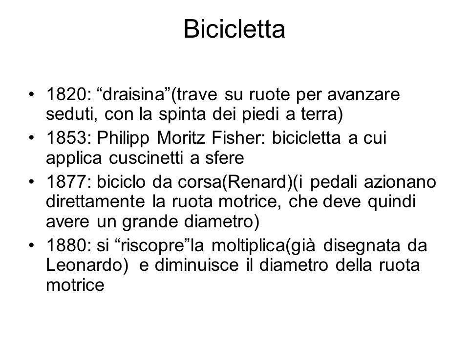 Bicicletta 1820: draisina(trave su ruote per avanzare seduti, con la spinta dei piedi a terra) 1853: Philipp Moritz Fisher: bicicletta a cui applica c