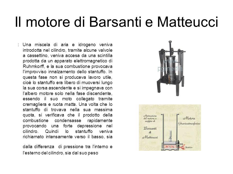 Il motore di Barsanti e Matteucci : Una miscela di aria e idrogeno veniva introdotta nel cilindro, tramite alcune valvole a cassettino, veniva accesa