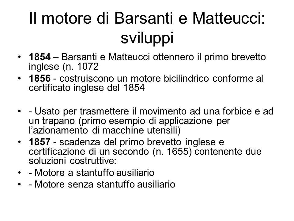 Il motore di Barsanti e Matteucci: sviluppi 1858 - ottengono lo stesso brevetto inglese anche in Francia costruito dalla fonderia di Vincenzo Calegari di Livorno un motore ad un solo cilindro dotato di due stantuffi principali contrapposti.