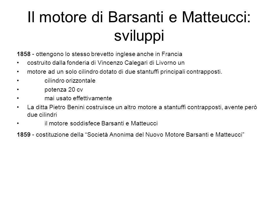 Il motore di Barsanti e Matteucci: sviluppi 1858 - ottengono lo stesso brevetto inglese anche in Francia costruito dalla fonderia di Vincenzo Calegari