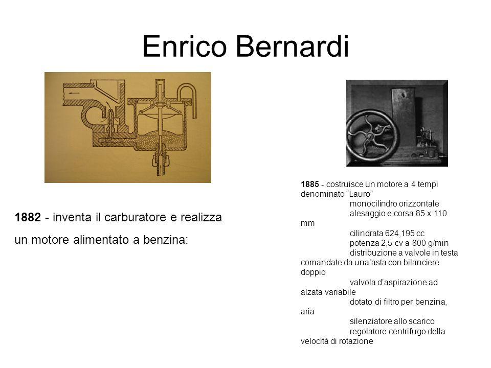 Enrico Bernardi 1882 - inventa il carburatore e realizza un motore alimentato a benzina: 1885 - costruisce un motore a 4 tempi denominato Lauro monoci