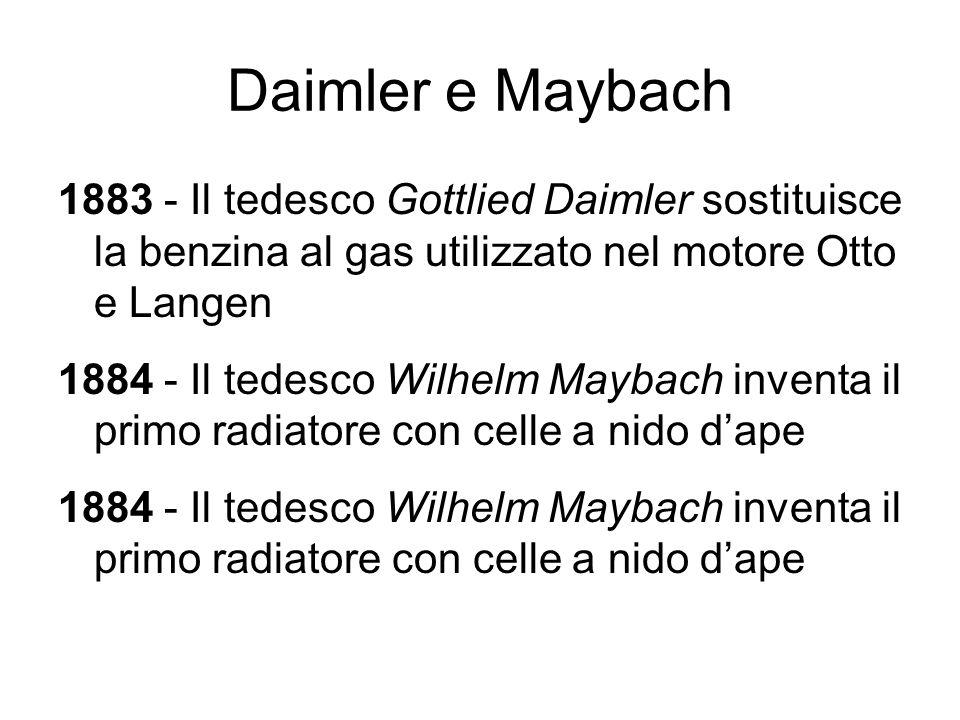 Daimler e Maybach 1883 - Il tedesco Gottlied Daimler sostituisce la benzina al gas utilizzato nel motore Otto e Langen 1884 - Il tedesco Wilhelm Mayba