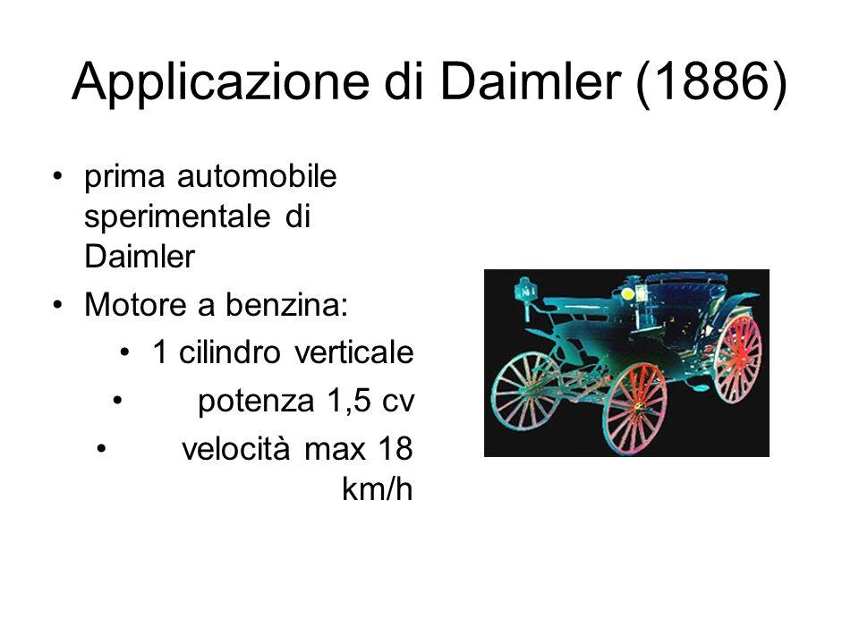 Applicazione di Daimler (1886) prima automobile sperimentale di Daimler Motore a benzina: 1 cilindro verticale potenza 1,5 cv velocità max 18 km/h