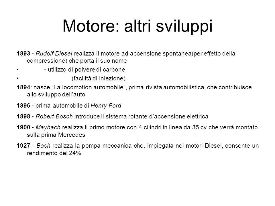 Motore: altri sviluppi 1893 - Rudolf Diesel realizza il motore ad accensione spontanea(per effetto della compressione) che porta il suo nome - utilizz