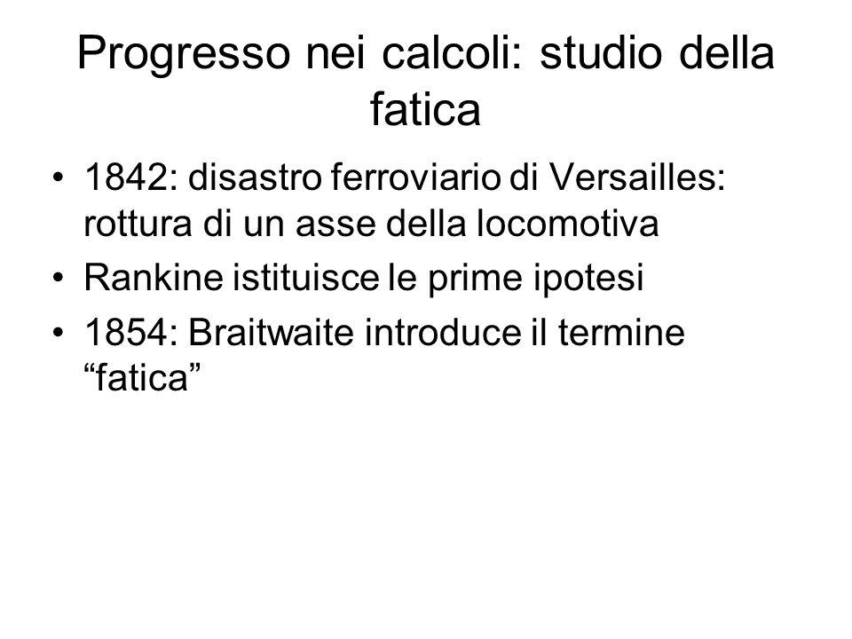 Progresso nei calcoli: studio della fatica 1842: disastro ferroviario di Versailles: rottura di un asse della locomotiva Rankine istituisce le prime i
