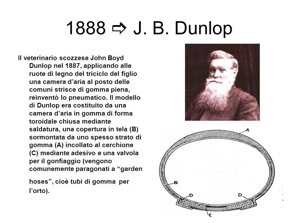 1888 J. B. Dunlop Il veterinario scozzese John Boyd Dunlop nel 1887, applicando alle ruote di legno del triciclo del figlio una camera daria al posto