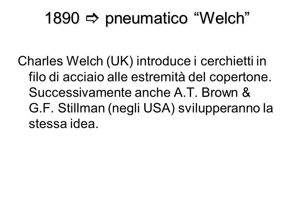 1890 pneumatico Welch Charles Welch (UK) introduce i cerchietti in filo di acciaio alle estremità del copertone. Successivamente anche A.T. Brown & G.