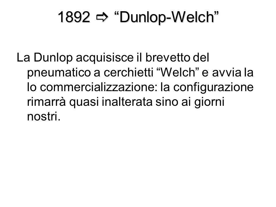 1892 Dunlop-Welch La Dunlop acquisisce il brevetto del pneumatico a cerchietti Welch e avvia la lo commercializzazione: la configurazione rimarrà quas