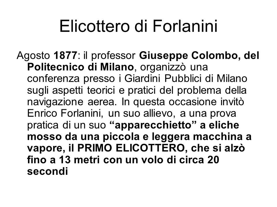 Elicottero di Forlanini Agosto 1877: il professor Giuseppe Colombo, del Politecnico di Milano, organizzò una conferenza presso i Giardini Pubblici di