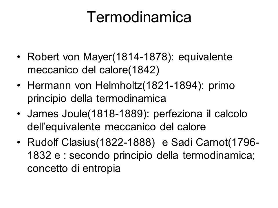 Termodinamica Robert von Mayer(1814-1878): equivalente meccanico del calore(1842) Hermann von Helmholtz(1821-1894): primo principio della termodinamic