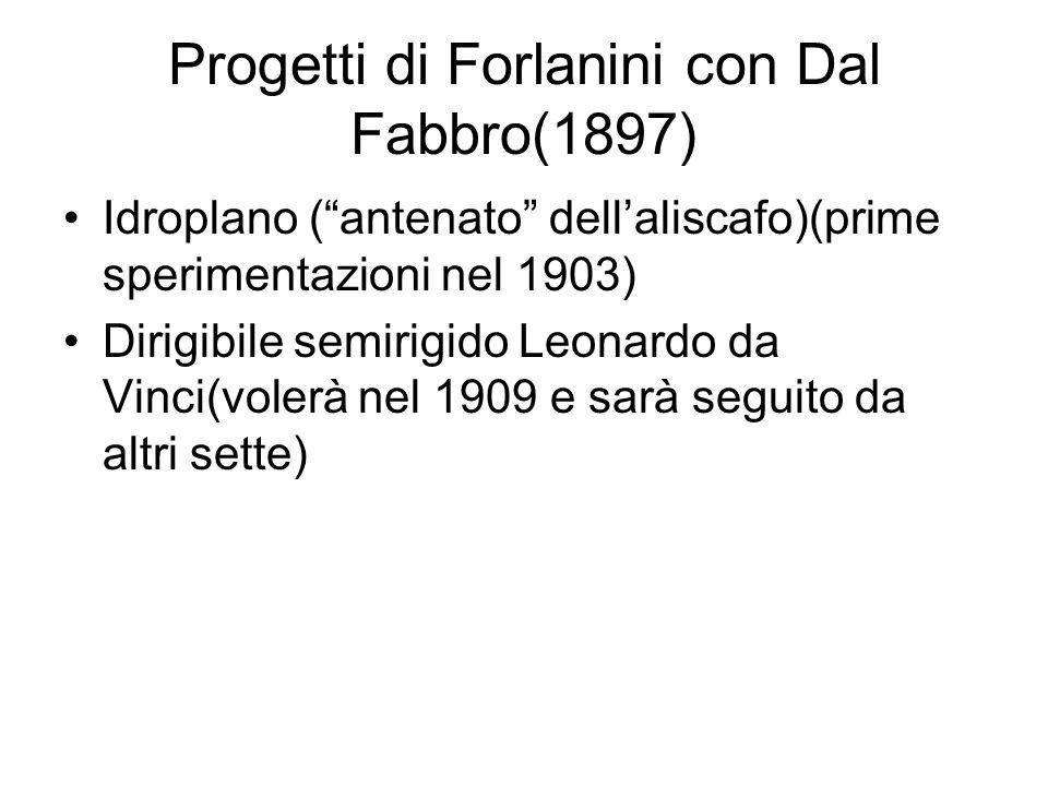 Progetti di Forlanini con Dal Fabbro(1897) Idroplano (antenato dellaliscafo)(prime sperimentazioni nel 1903) Dirigibile semirigido Leonardo da Vinci(v