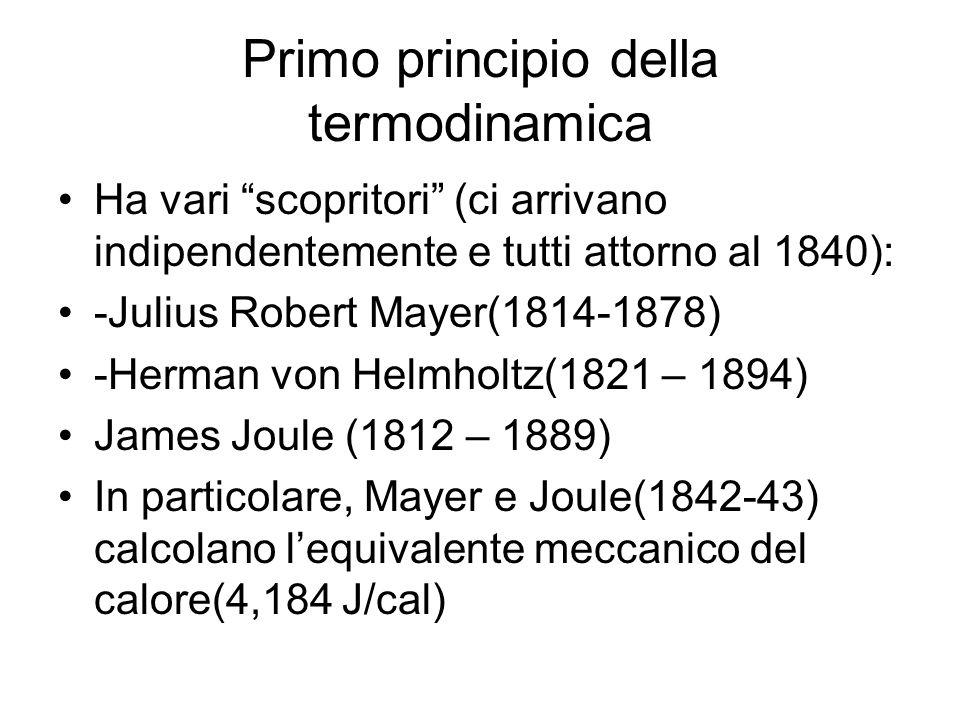 Primo principio della termodinamica Ha vari scopritori (ci arrivano indipendentemente e tutti attorno al 1840): -Julius Robert Mayer(1814-1878) -Herma