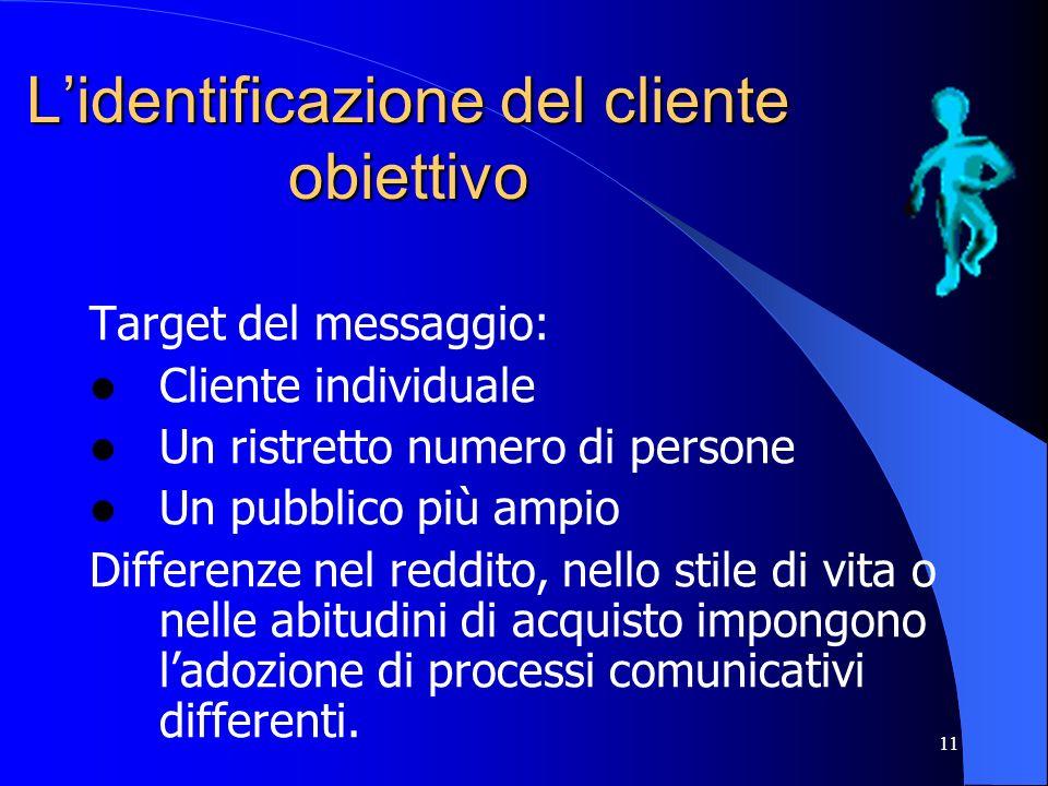 11 Lidentificazione del cliente obiettivo Target del messaggio: Cliente individuale Un ristretto numero di persone Un pubblico più ampio Differenze ne