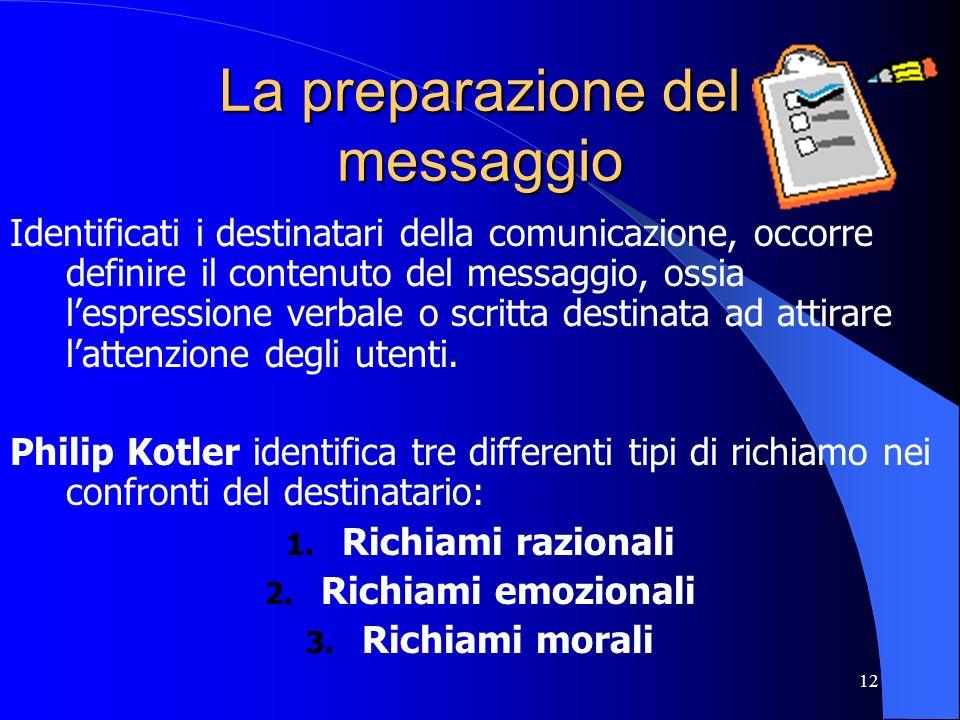 12 La preparazione del messaggio Identificati i destinatari della comunicazione, occorre definire il contenuto del messaggio, ossia lespressione verba