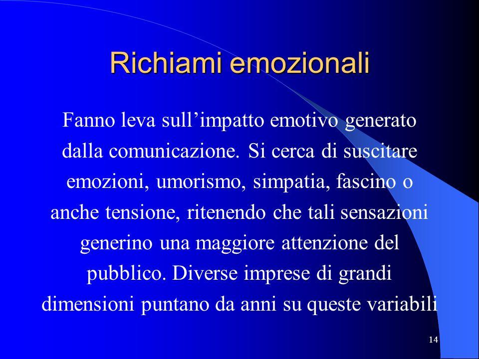 14 Richiami emozionali Fanno leva sullimpatto emotivo generato dalla comunicazione. Si cerca di suscitare emozioni, umorismo, simpatia, fascino o anch