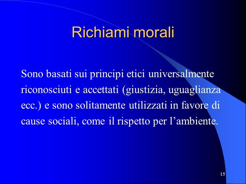 15 Richiami morali Sono basati sui principi etici universalmente riconosciuti e accettati (giustizia, uguaglianza ecc.) e sono solitamente utilizzati