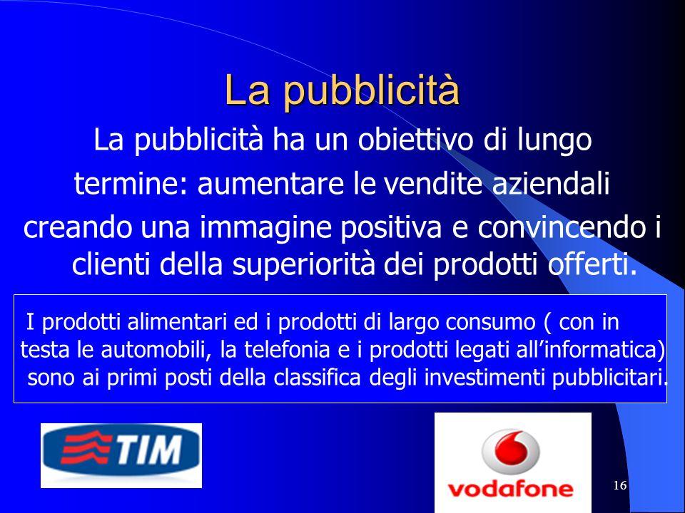 16 La pubblicità La pubblicità ha un obiettivo di lungo termine: aumentare le vendite aziendali creando una immagine positiva e convincendo i clienti