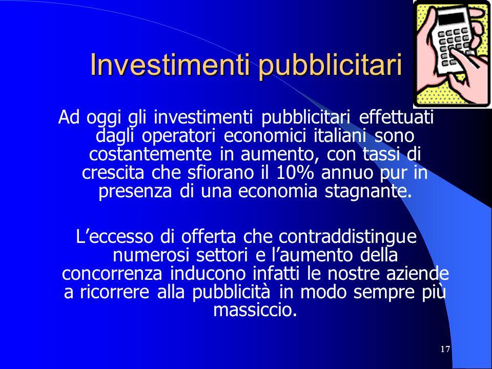 17 Investimenti pubblicitari Ad oggi gli investimenti pubblicitari effettuati dagli operatori economici italiani sono costantemente in aumento, con ta