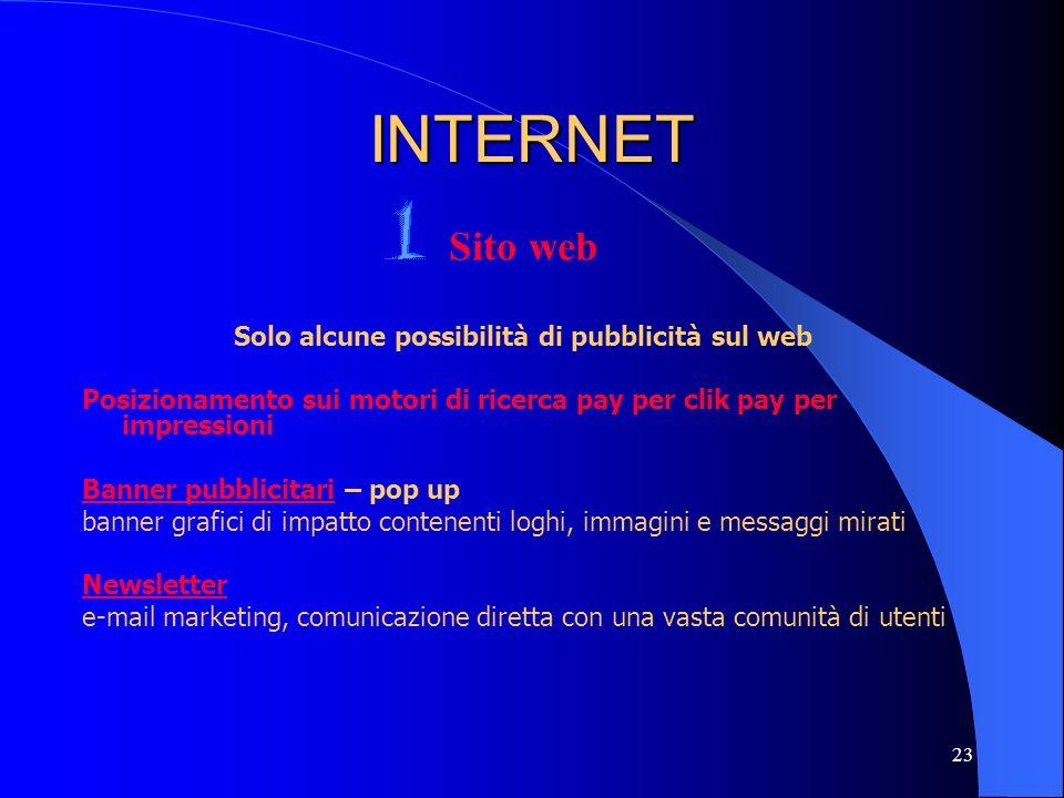 23 INTERNET Sito web Solo alcune possibilità di pubblicità sul web Posizionamento sui motori di ricerca pay per clik pay per impressioni Banner pubbli