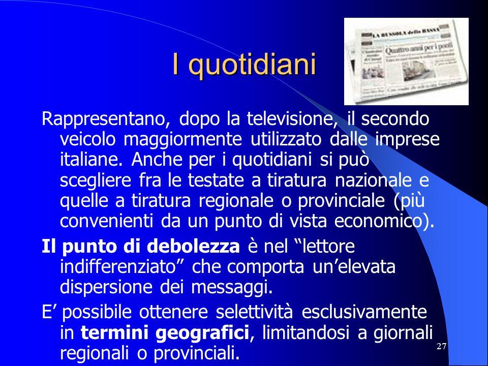27 I quotidiani Rappresentano, dopo la televisione, il secondo veicolo maggiormente utilizzato dalle imprese italiane. Anche per i quotidiani si può s