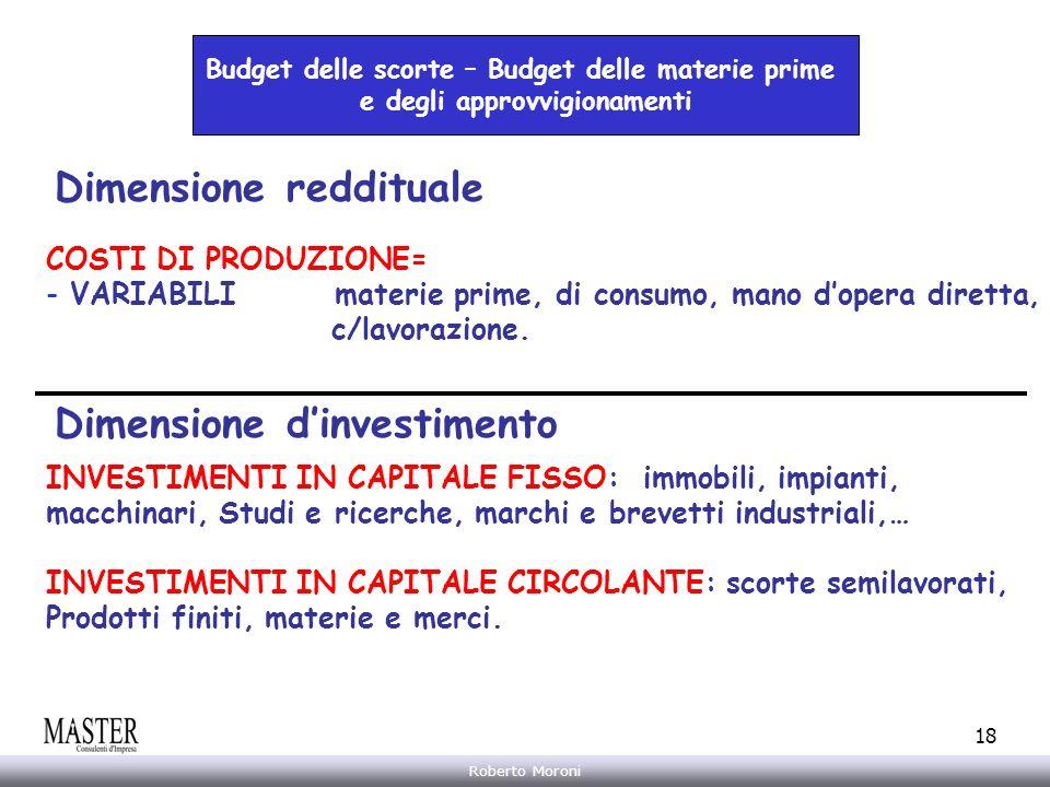 Annarita Gelasio Roberto Moroni 18 Budget delle scorte – Budget delle materie prime e degli approvvigionamenti Dimensione reddituale Dimensione dinves
