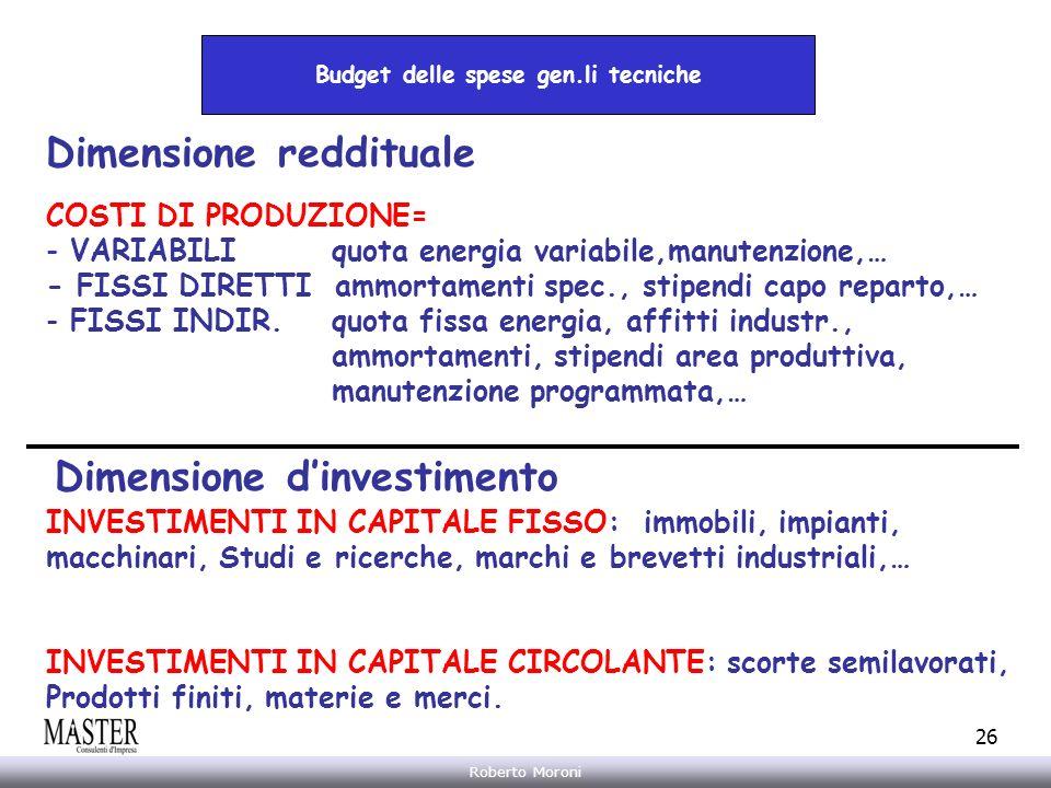 Annarita Gelasio Roberto Moroni 26 Budget delle spese gen.li tecniche Dimensione reddituale Dimensione dinvestimento INVESTIMENTI IN CAPITALE FISSO: i