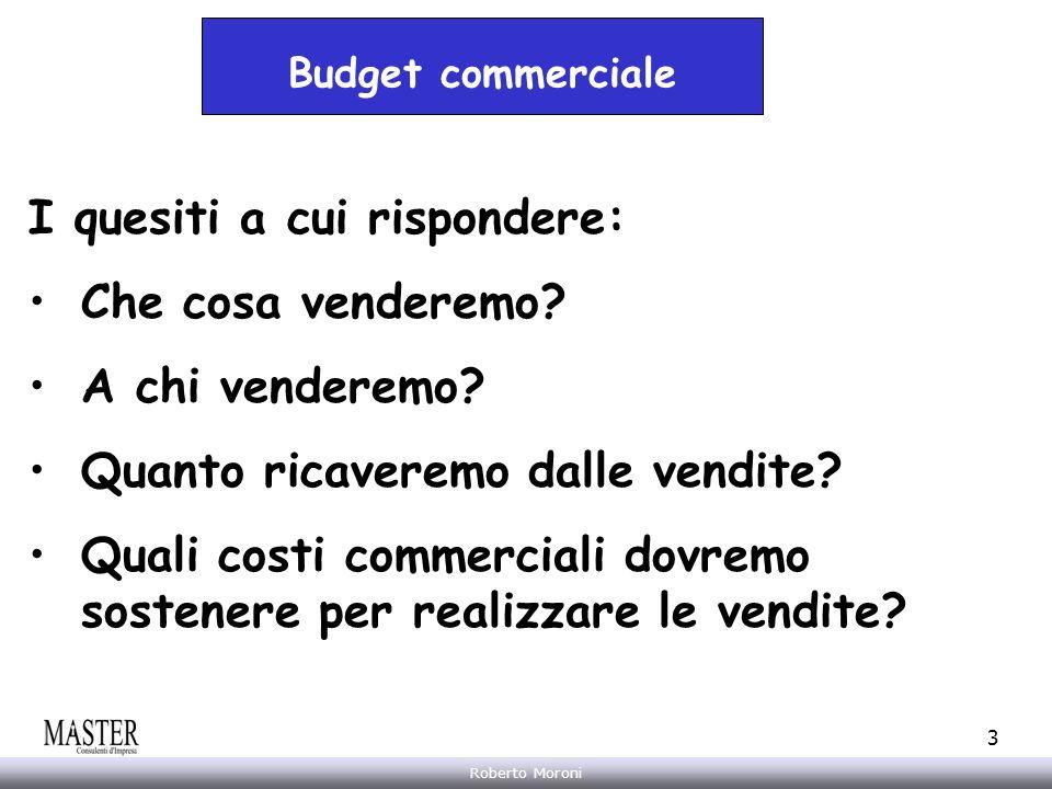 Annarita Gelasio Roberto Moroni 3 Budget commerciale I quesiti a cui rispondere: Che cosa venderemo? A chi venderemo? Quanto ricaveremo dalle vendite?