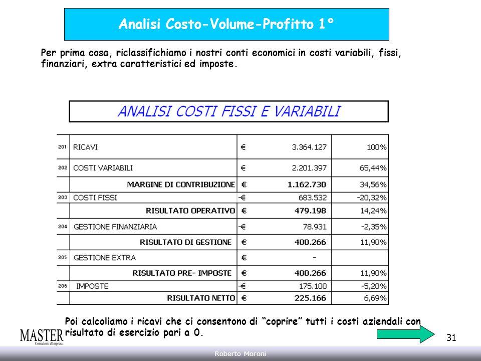 Annarita Gelasio Roberto Moroni 31 Analisi Costo-Volume-Profitto 1° Per prima cosa, riclassifichiamo i nostri conti economici in costi variabili, fiss