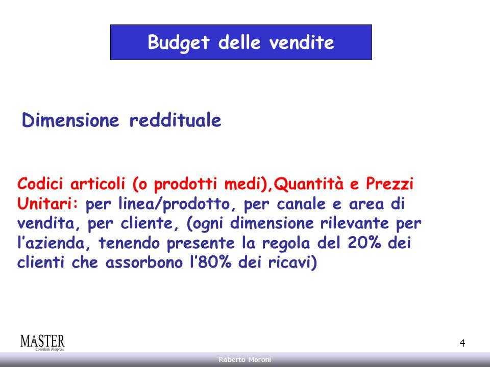 Annarita Gelasio Roberto Moroni 4 Budget delle vendite Dimensione reddituale Codici articoli (o prodotti medi),Quantità e Prezzi Unitari: per linea/pr