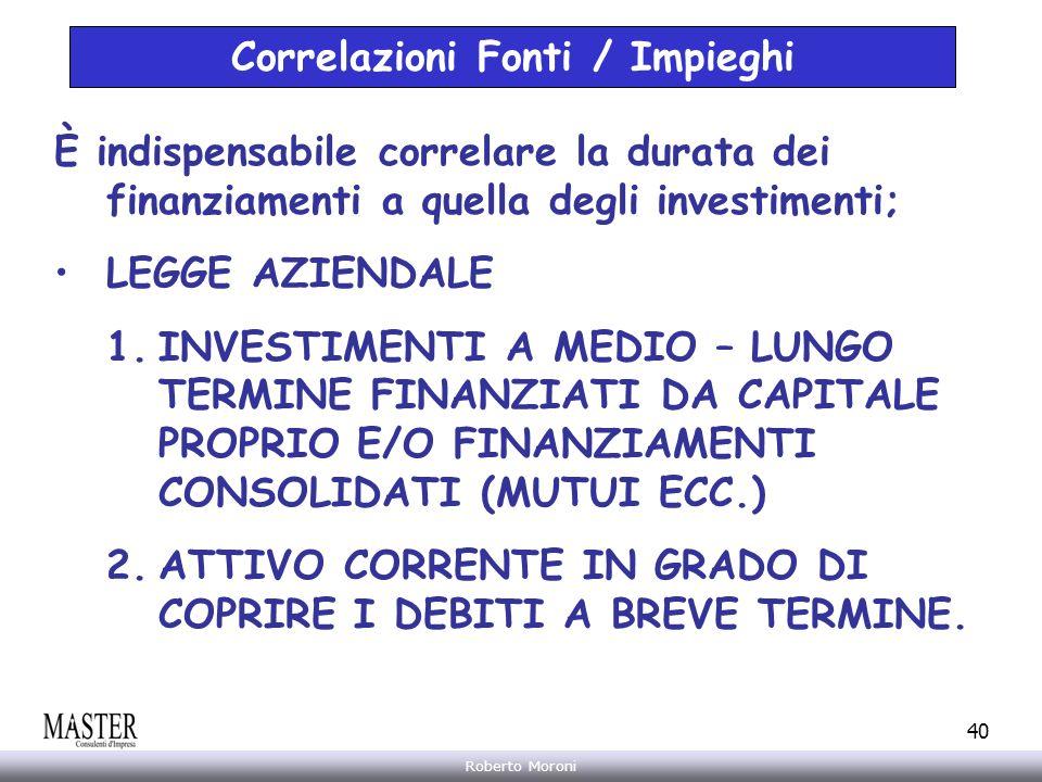 Annarita Gelasio Roberto Moroni 40 Correlazioni Fonti / Impieghi È indispensabile correlare la durata dei finanziamenti a quella degli investimenti; L