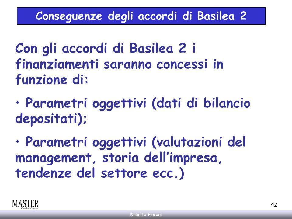 Annarita Gelasio Roberto Moroni 42 Conseguenze degli accordi di Basilea 2 Con gli accordi di Basilea 2 i finanziamenti saranno concessi in funzione di
