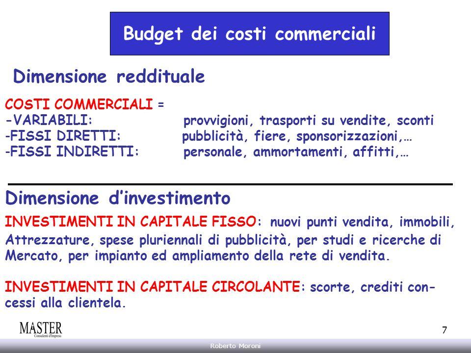 Annarita Gelasio Roberto Moroni 7 Budget dei costi commerciali Dimensione reddituale COSTI COMMERCIALI = -VARIABILI: provvigioni, trasporti su vendite