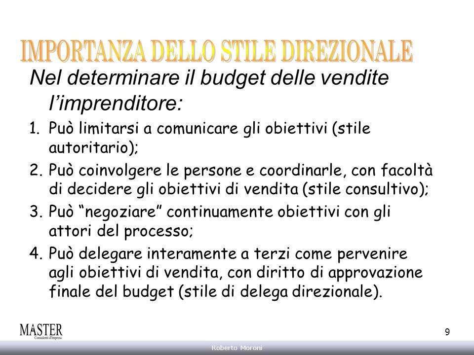 Annarita Gelasio Roberto Moroni 9 Nel determinare il budget delle vendite limprenditore: 1.Può limitarsi a comunicare gli obiettivi (stile autoritario