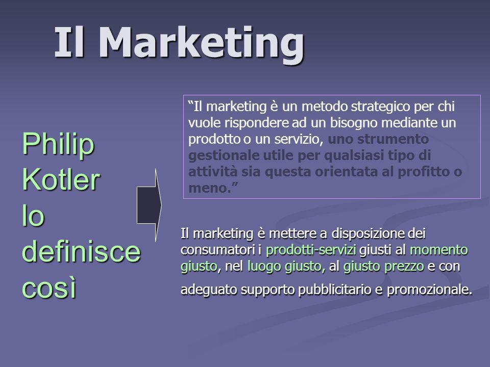 Il Marketing Il marketing è mettere a disposizione dei consumatori i prodotti-servizi giusti al momento giusto, nel luogo giusto, al giusto prezzo e con adeguato supporto pubblicitario e promozionale.