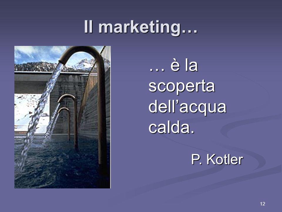 12 Il marketing… … è la scoperta dellacqua calda. P. Kotler P. Kotler