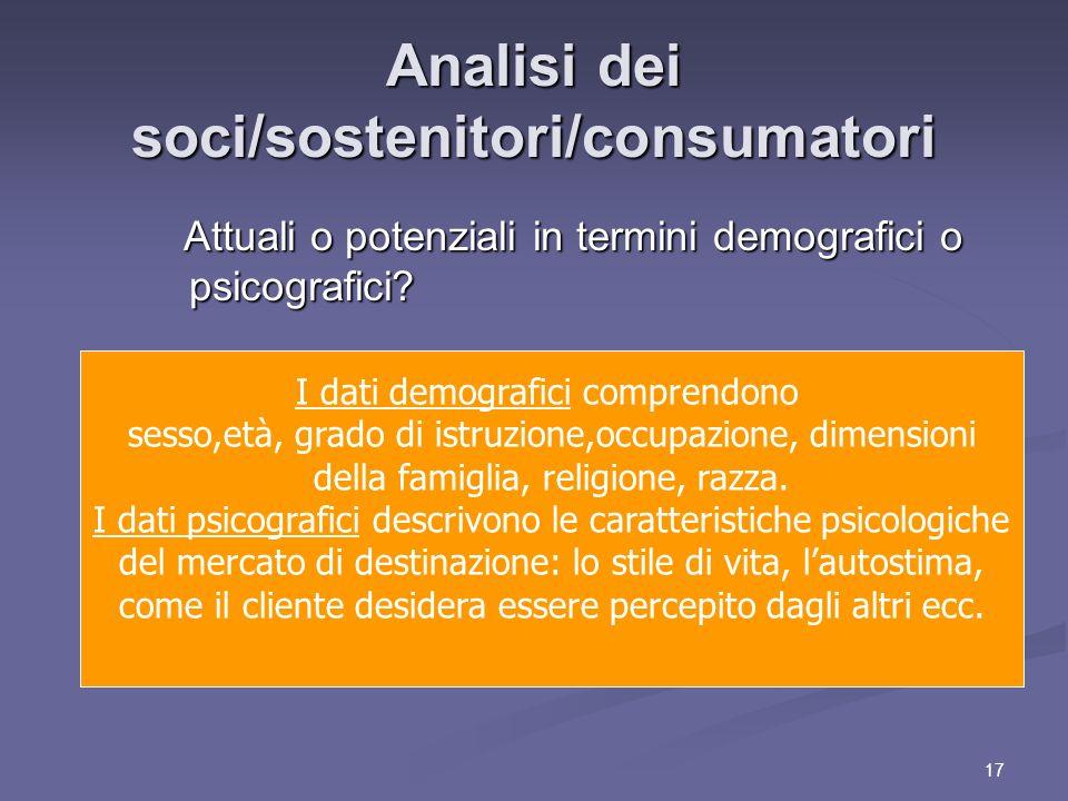 17 Analisi dei soci/sostenitori/consumatori Attuali o potenziali in termini demografici o psicografici.