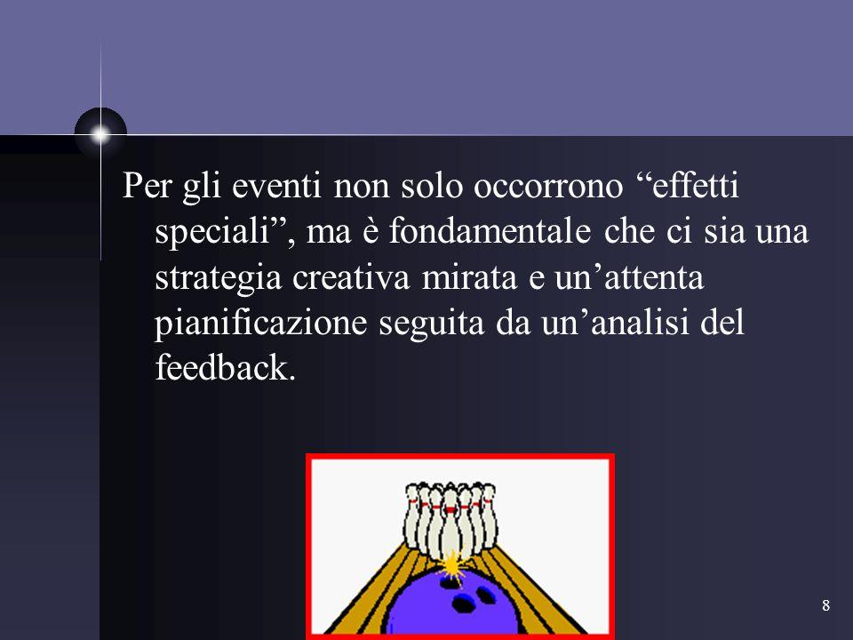 8 Per gli eventi non solo occorrono effetti speciali, ma è fondamentale che ci sia una strategia creativa mirata e unattenta pianificazione seguita da unanalisi del feedback.