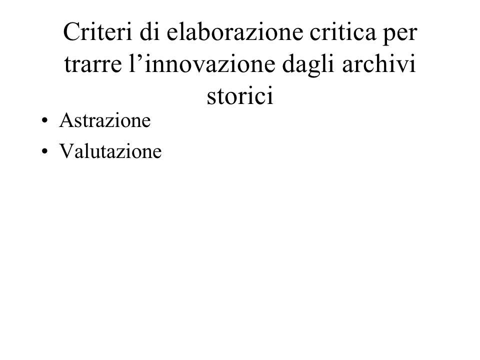 Criteri di elaborazione critica per trarre linnovazione dagli archivi storici Astrazione Valutazione