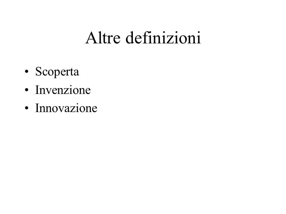 Altre definizioni Scoperta Invenzione Innovazione