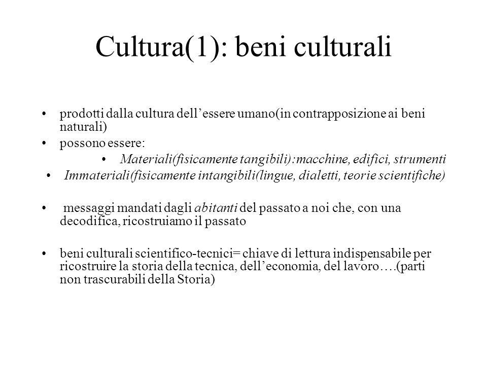 Cultura(1): beni culturali prodotti dalla cultura dellessere umano(in contrapposizione ai beni naturali) possono essere: Materiali(fisicamente tangibi
