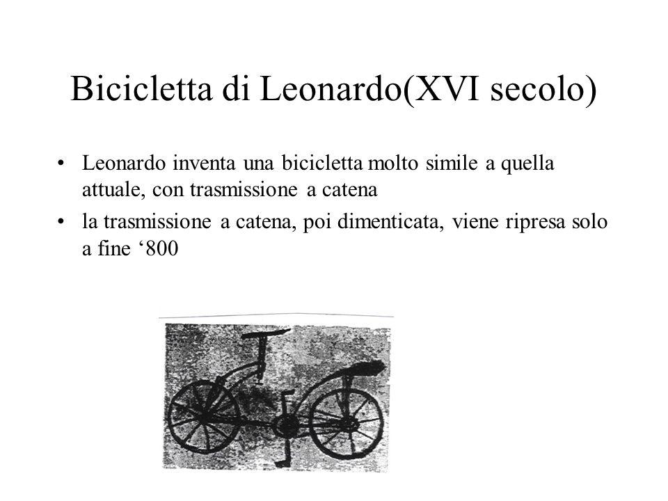 Bicicletta di Leonardo(XVI secolo) Leonardo inventa una bicicletta molto simile a quella attuale, con trasmissione a catena la trasmissione a catena,